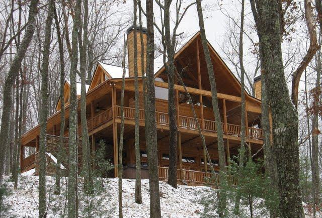 "First Winter Glimpse of ""The Summit"" - The Summit-4 Master Suite Luxury Cabin - Blue Ridge - rentals"