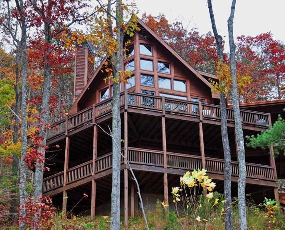 Front View of Cabin - Spectacular Views! 3 BR Luxury Cabin-Aska Adv Area - Blue Ridge - rentals