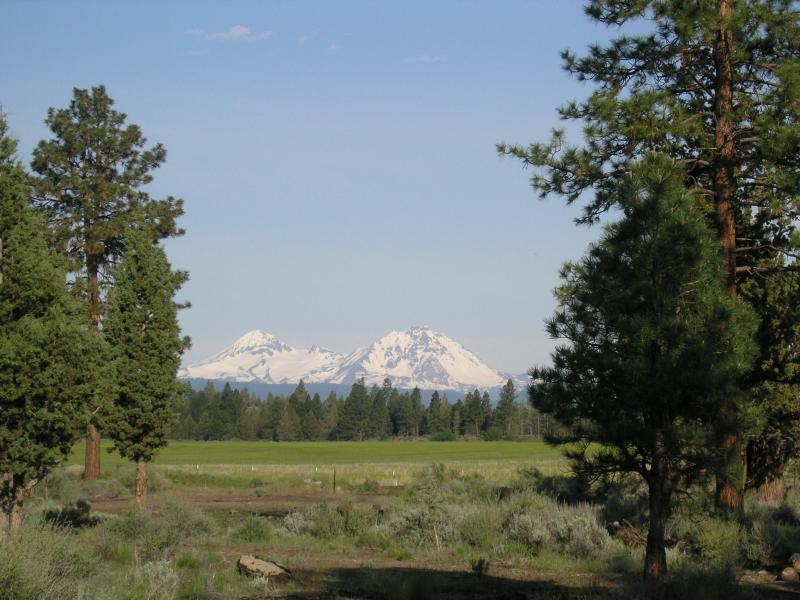 Unobstructed view of the Three Sisters Mountains from our front deck - Tumalo Pines - Bend - rentals