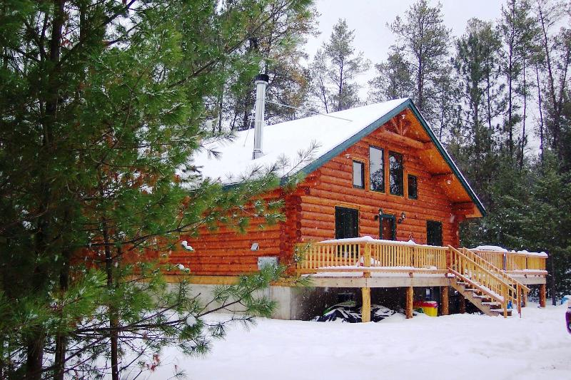 Buckhorn Lake Cabin in the winter - Unique Handmade Log Cabin: Unplug and Feel The Peace. Ask about our specials. - Merrillan - rentals