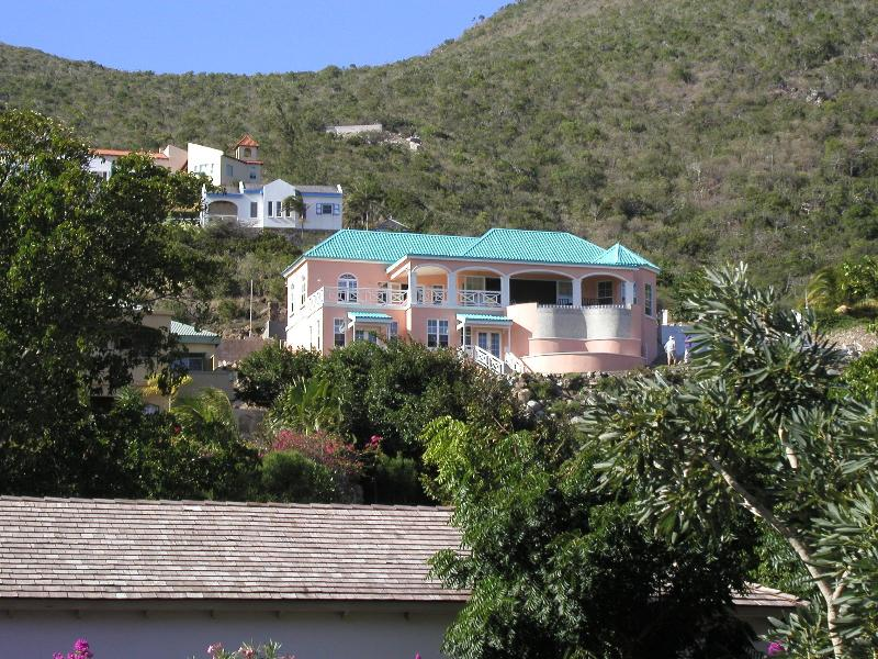 VIEW OF VILLA FROM THE BEACH - Luxury Villa Panoramic Caribbean View Turtle Beach - Turtle Beach - rentals