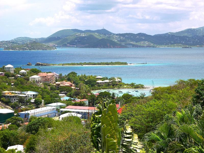 Charming Cruz Bay Harbor and turquoise Caribbean Sea from your private garden terrace - 2BR/1BA  near town/NP beaches, sea views, a/c - Cruz Bay - rentals