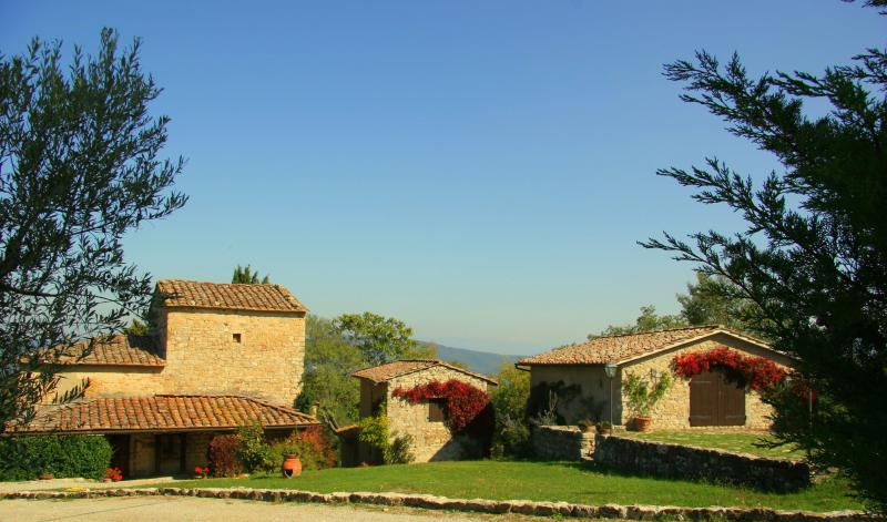 Main view - the farmhouse and 2 cottages - Vacatoin Rentals at Greve in Chianti, Tuscany, Italy - Greve in Chianti - rentals