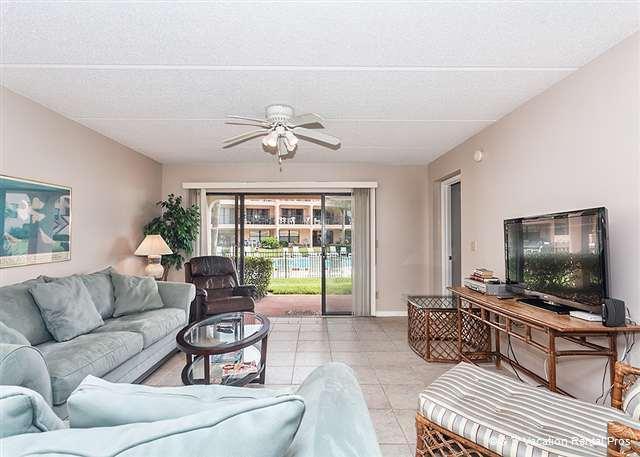 Crisp tile floors accent our sunny, elegant living room - Sea Place 14158, Ground Floor Unit, Pool, Tennis, & Beach - Saint Augustine - rentals