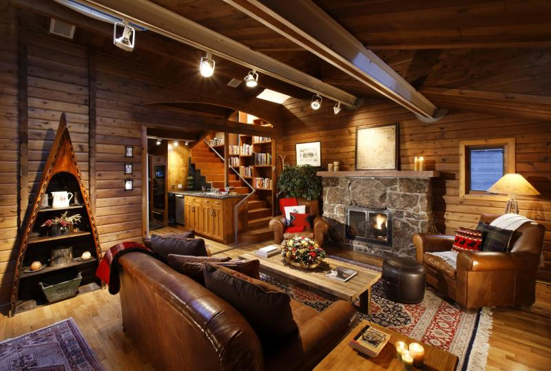 Rustic stone fireplace and hickory walls - *SPECTACULAR VIEWS* Just Steps to Downtown! - Aspen - rentals
