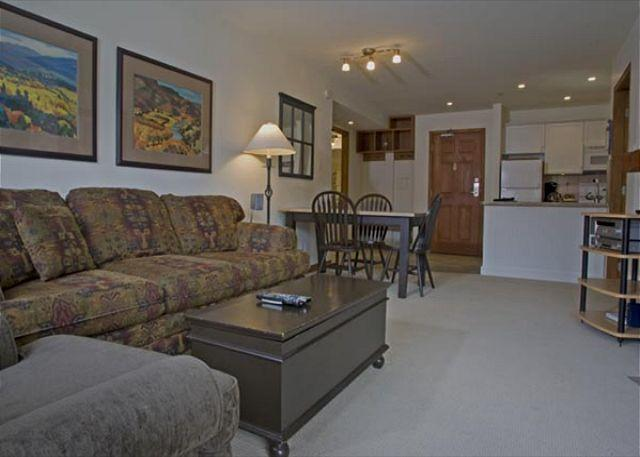 Living Area - Aspens #358, 2 Bdrm, Ski in Ski out, Bright Pool View, Free Wifi & BBQ - Whistler - rentals