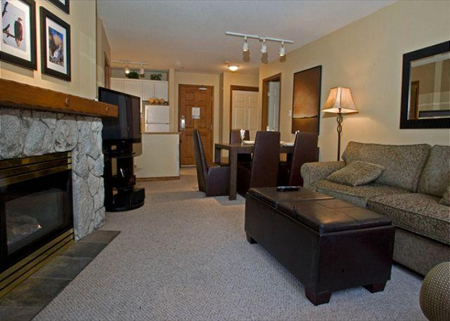 Living Area - Aspens #239, Spacious 2 Bdrm, Ski-in Ski-out, Free Wifi, BBQ - Whistler - rentals