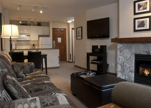 Living Room - Aspens #110, 1 Bdrm, Ski-in Ski-out, Forest/Ski Hill View, Free Wifi, BBQ - Whistler - rentals
