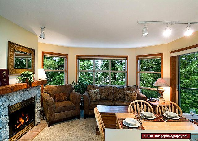 Living Area - Aspens #427, 2 Bdrm, Ski-in Ski-out, Serene Forest View, Free Wifi - Whistler - rentals