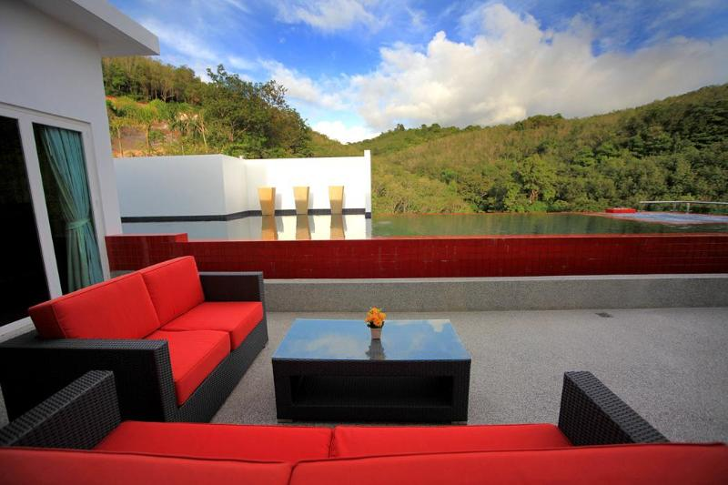 Lush green hills from deck and pool! - AWARD WINNER-Stunning Ocean View Infinity Pool - Phuket - rentals