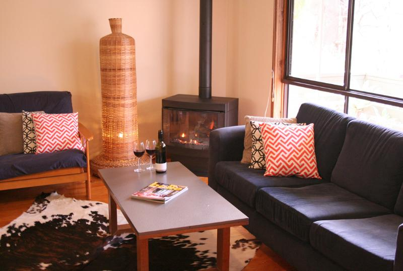 Warm up next to our gas log fire - Enjoy a treechange at The Escarpment - Halls Gap - rentals