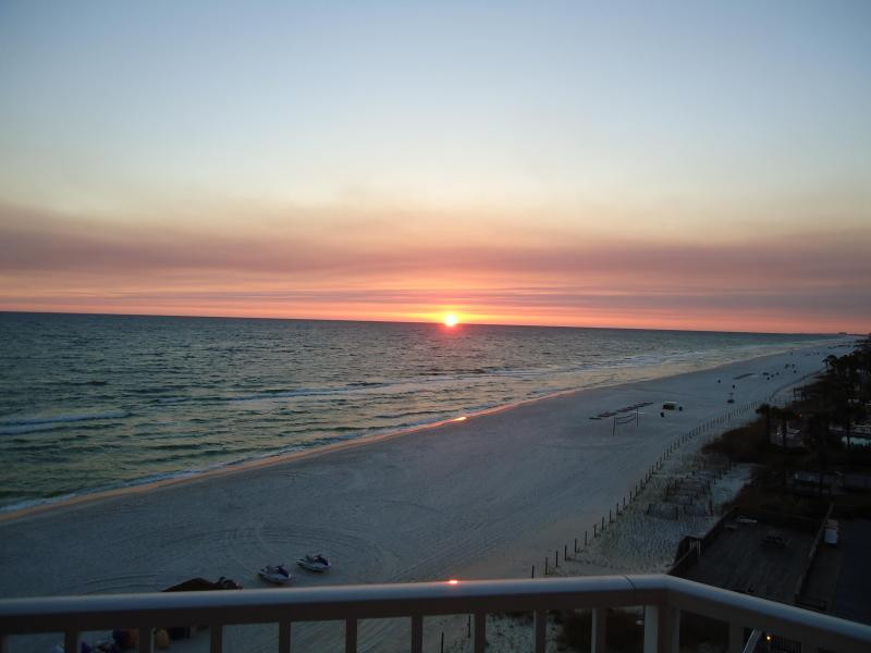 Sunset from wrap-around balcony at Tidewater Resort #401 - Tidewater #401*large 2248 sf -4 BR end unit * WIFI - Panama City Beach - rentals