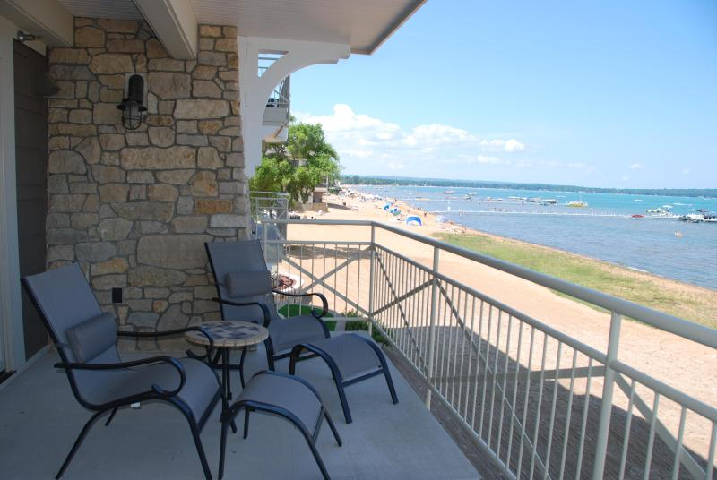 Relax on the balcony with the gorgeous view of the bay - Beautiful  Furnished Suite On Grand Traverse Bay! - Traverse City - rentals