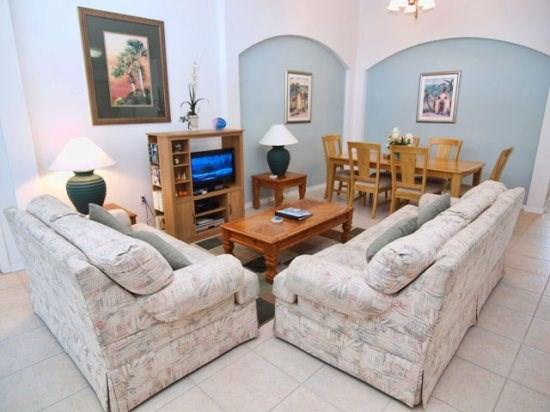 Living Area - CM4P4730CLD 4 BR Gated Pool Villa with Lake View - Orlando - rentals