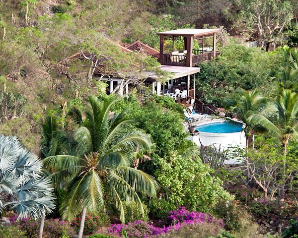 View fromup on hill. Villa, pool and gazebo - Villa del Sole, 4bed4bath, Mahoebay VG Discounted! - Virgin Gorda - rentals