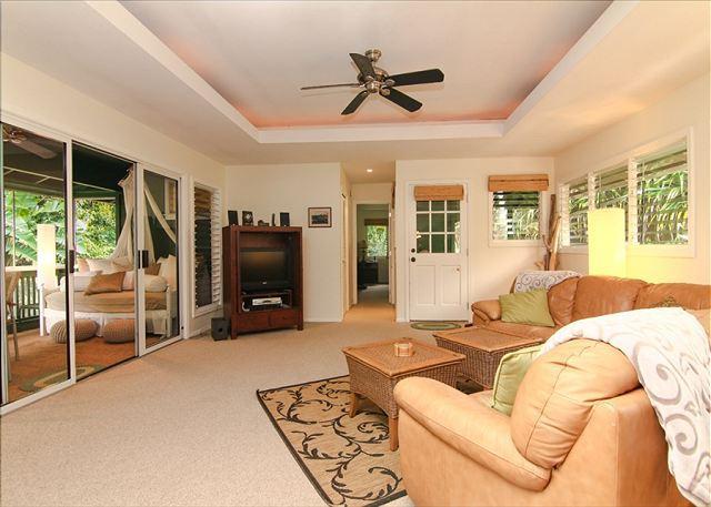Living Room - Kauai Tree House: Beautiful Haena home within a gated estate - Hanalei - rentals