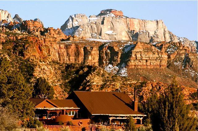 "Zion Estate: View towards Southeast (Zion's ""West Temple"" in the background) - Secluded 10Acre Estate/Lodge in Zion National Park - Zion National Park - rentals"