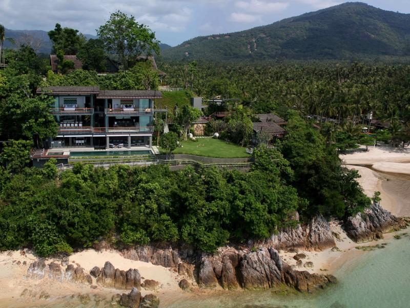 The villa and annexes on its headland - the View Samui, 6 bed beachfront villa in Thailand - Taling Ngam - rentals