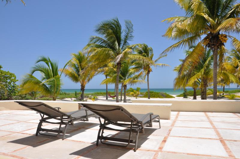 The terrace overlooking the beach - Casa de Cocos is a private, Mayan beach house. - Telchac Puerto - rentals