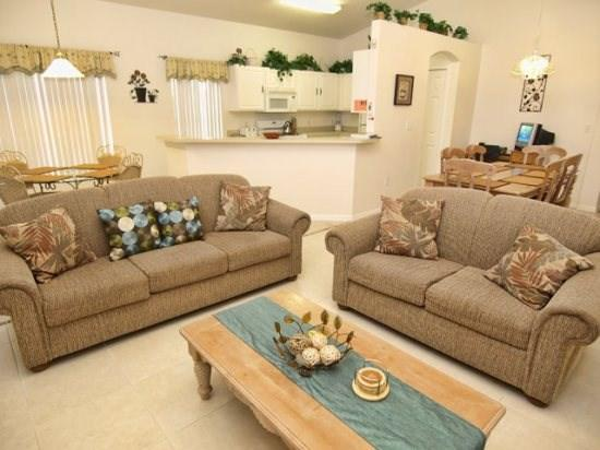 Living Area - BWC4P234HBD Beautiful 4 BR Pool Home with High Standard Amenities - Orlando - rentals