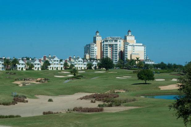 View of the golf Course and Grand Hotel from the balconies - Summer Sales - Golf View w/ Pool,Gamesroom, Pool - Reunion - rentals