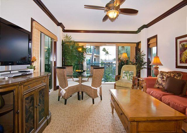 Living Room - Waipouli #A-303: 2bdr/3 bath on Beach Front Resort - Kapaa - rentals