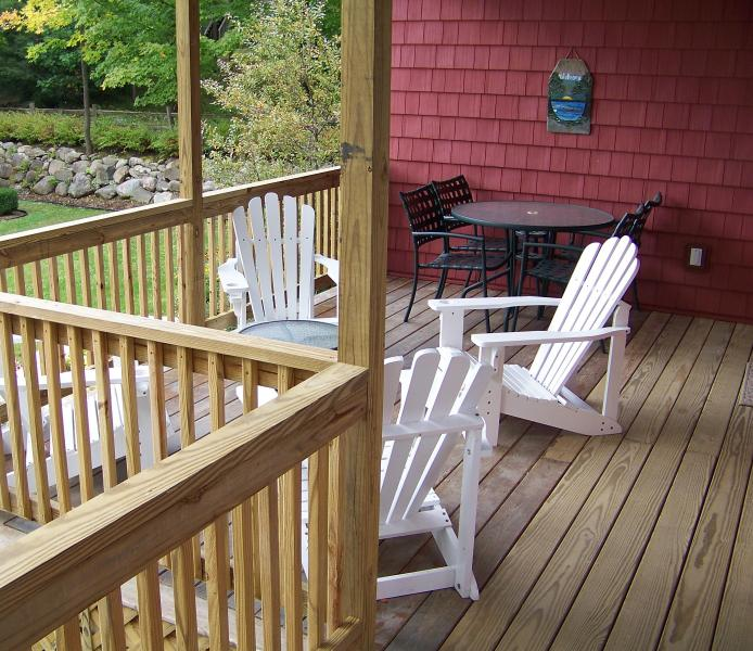 Covered  Porch with Table & 4 Chairs plus 4 Adirondack Chairs - Lake George 4-Bedroom Waterfront Home - Bolton Landing - rentals