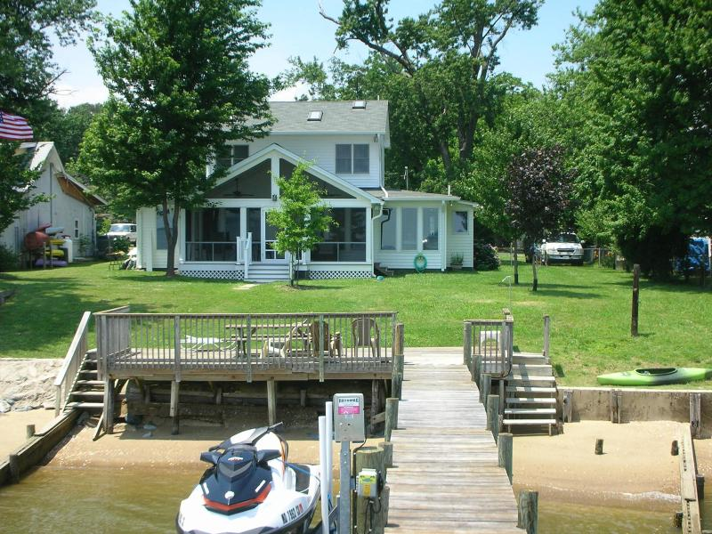 House from Dock, with Shoreline, Beach & Screened Porch - Cobb Island Waterfront Home with Beach & Dock - Cobb Island - rentals