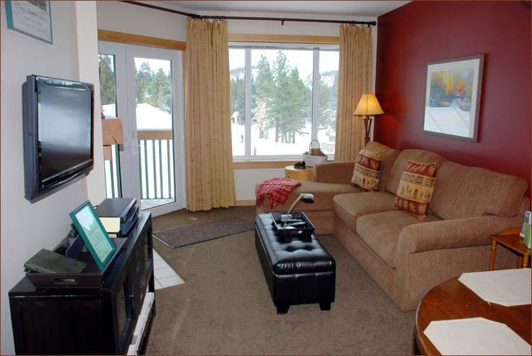 Living Room  (yummy) (HDTV on articulating arm ... whatever that means?  You can move it around! - Juniper Springs Lodge One Bedroom Luxury Slopeside - Mammoth Lakes - rentals