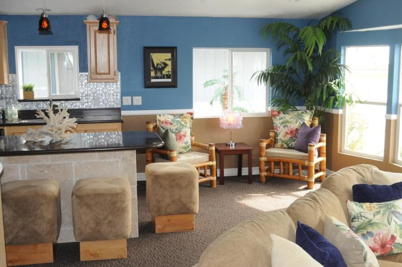 Seating Area and Kitchen Area with Catalina View - My Manufactured Home Is The Perfect Beach Bungalow - Newport Beach - rentals