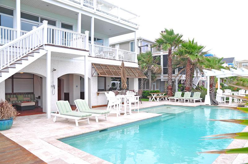 Pool and Summer Kitchen - Oceanfront Home with Pool, Summer Kitchen, and Private Boardwalk to the Beach - Isle of Palms - rentals