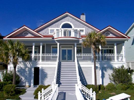 Rear of House w/Covered Porch - Oceanfront Home with Viewing Decks and Private Boardwalk to the Beach! - Isle of Palms - rentals