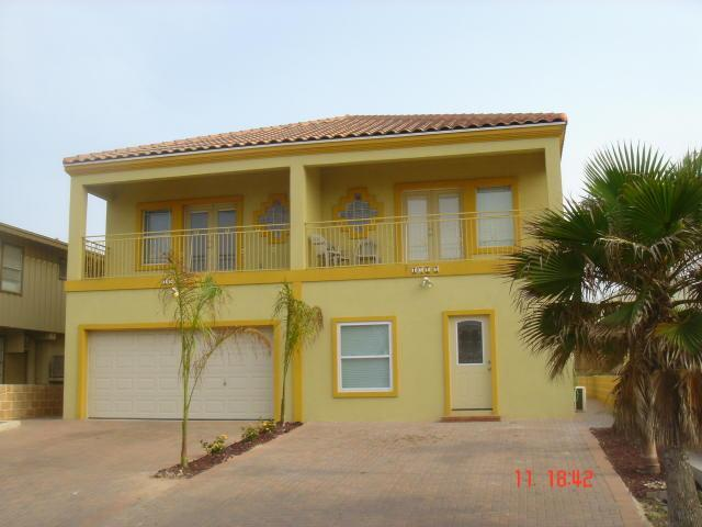 Front view of townhouse - Unit on right side - Listen to the waves from your private heated pool! - South Padre Island - rentals