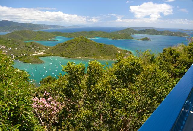 Gorgeous view from deck at Mountain Haven, St. John - Fabulous View, Authentic Charm - $190/nt & up, 2-4 - Coral Bay - rentals