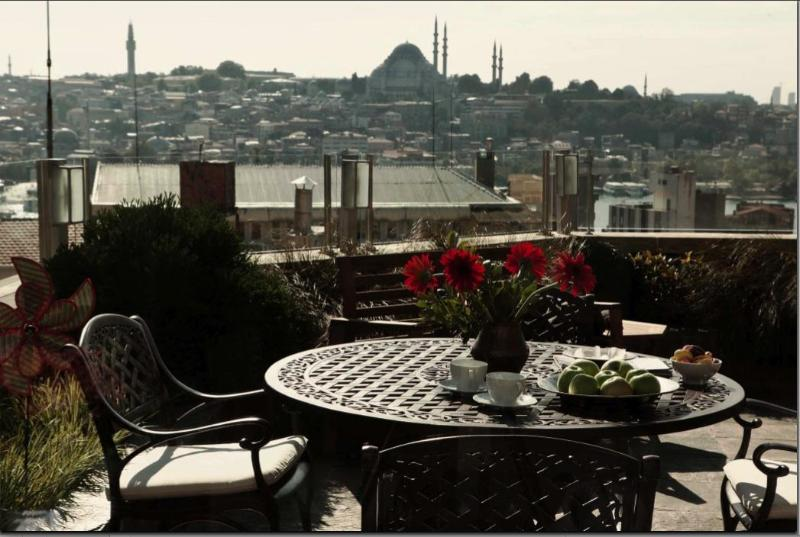 Common terrace of building - Newly renovated design apartment in Galata Beyoglu - Istanbul Province - rentals