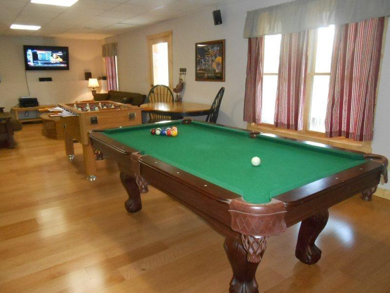 Game room has pool table, Foosball table,40 inch Flat Screen TV, Dart Board - Welcome to Red Feather - Ellijay - rentals