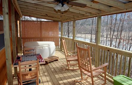 Porch overlooking Lake Lure with hot tub! - Romantic Log Cabin on Beautiful Lake Lure, Hot Tub - Lake Lure - rentals