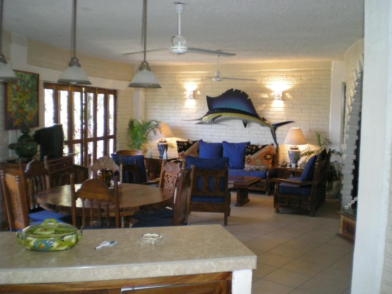 Living -Dining Area - BLUE CHAIRS-LOS MUERTOS BEACH--2 bedrm./3 bath - Puerto Vallarta - rentals