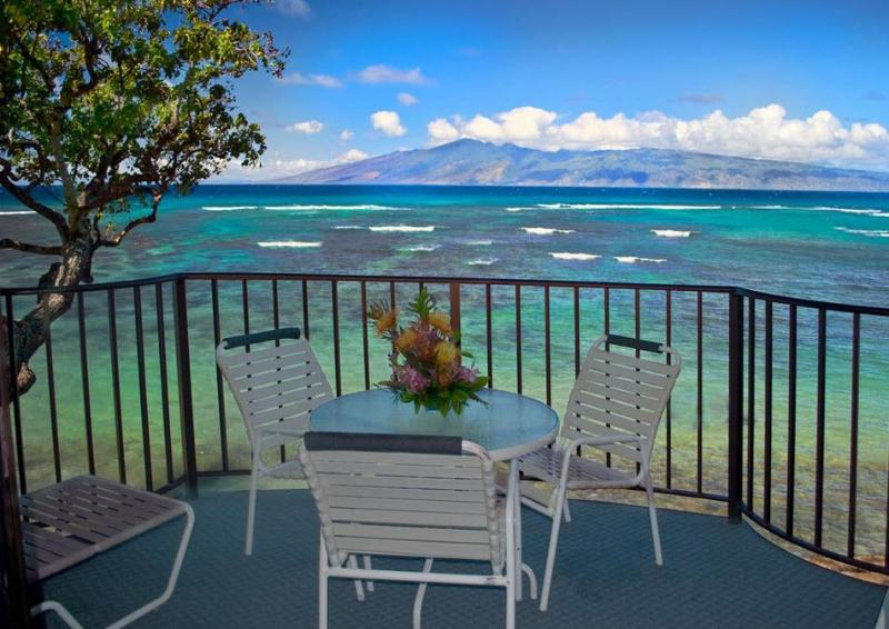 Lanai View overlooking Island of Molokai - Kahana Reef 317 OCEAN FRONT TRANQUILITY - One Be - Lahaina - rentals