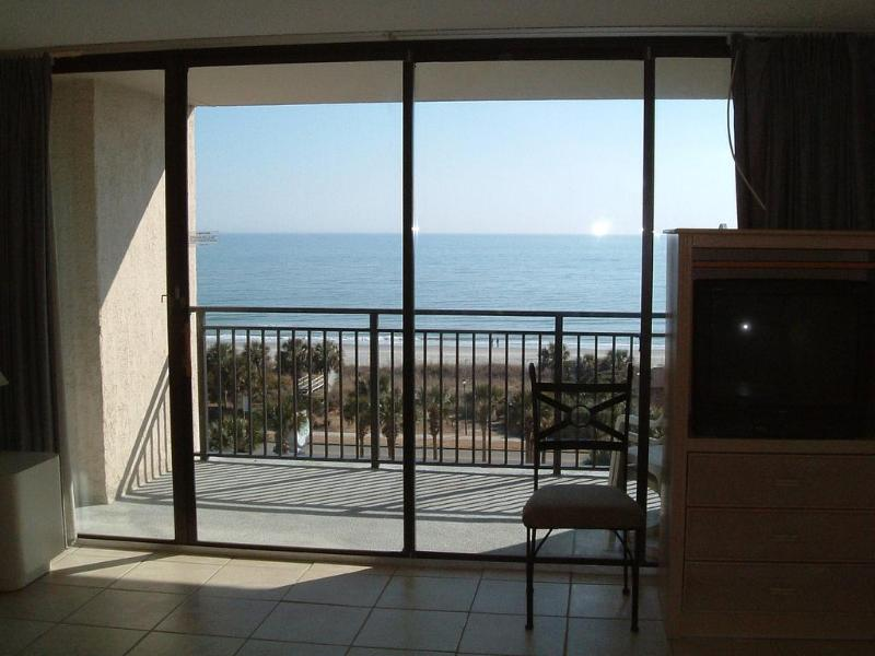 View from sofa - Beautiful Oceanfront Condo in quietest part of MB - Myrtle Beach - rentals