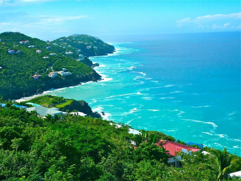 Views from the deck looking West - 180 Degree Tropical Ocean View 2 Bedroom Condo! - Saint Thomas - rentals