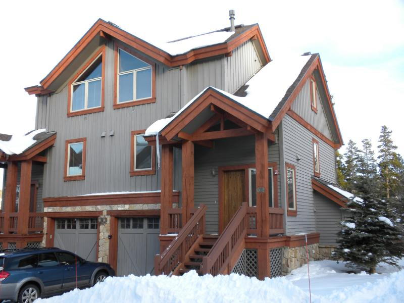 Exterior during winter (our home is the right side of the duplex) - 4 bedroom ski in/ski out duplex in Breckenridge CO - Breckenridge - rentals