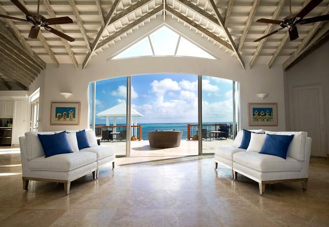 Foyer with View of Sun Deck - MOTHERSHOUSE Ocean Front Villa in Turks & Caicos - Providenciales - rentals