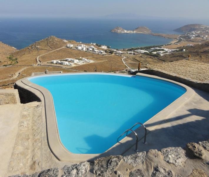 Pool and view from the entrance pathway - Luxurious Mykonos villa with amazing sea views - Mykonos - rentals