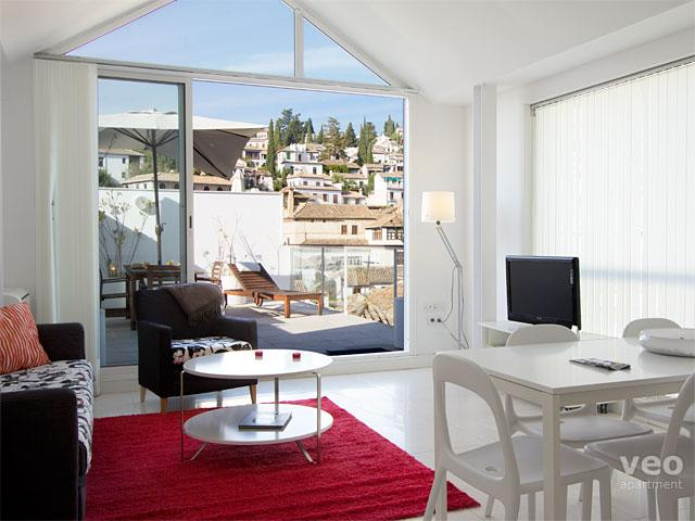 Bright living-dining area opens onto the fabulous terrace. - Granada Loft 6. 2 bedrooms for 6, terrace - Granada - rentals