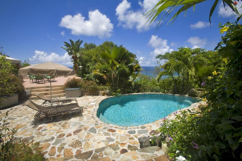 Views of the Dogs and Nail Bay from the pool at Sunset Watch Poolside Villa, Virgin Gorda. - 1 BR /Poolside and Beachside, Affordable! - Nail Bay - rentals