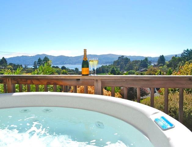 Jacuzzi with view of SF Bay - Tiburon Luxury View 4br w/Hot Tub, outdoor kitchen - Tiburon - rentals