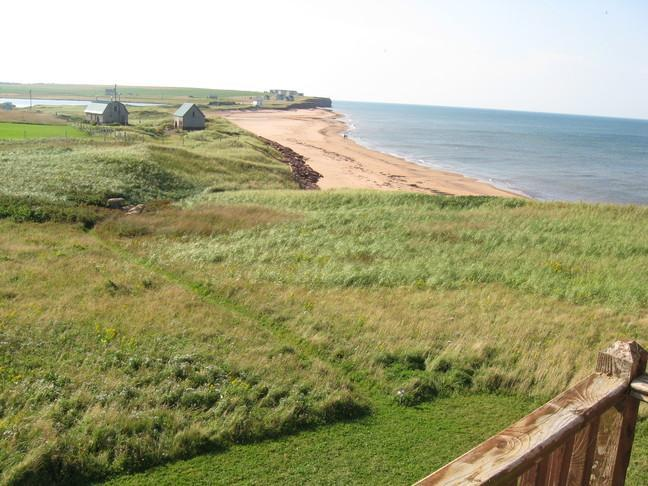 View of beach and beach access from upper deck - Beach House Cousins Shore PEI direct on sand beach - Kensington - rentals