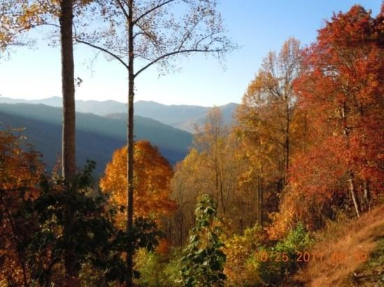 Fall Color from Eagles Ridge -- The Winning Photo of our 2011 Fall Photo Contest - Eagles Ridge Cabin - Find the View You`ll Remember at This Easy to Access Large Rental with Two Wood Burning Fireplaces and a Foosball Table -- Perfect for Groups or Families - Bryson City - rentals