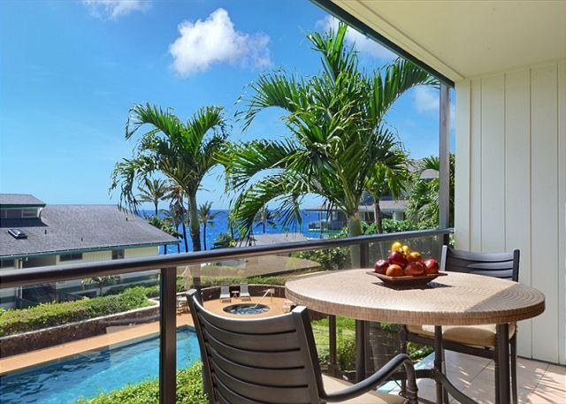 Lovely ocean views from the lanai of newly renovated Makahuena 2 - Makahuena Condo #2-203 - Spacious 3 Bedroom Condo with Pool - Poipu - rentals